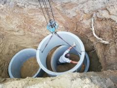 Digging of wells for drinking and sewage, deepening and cleaning